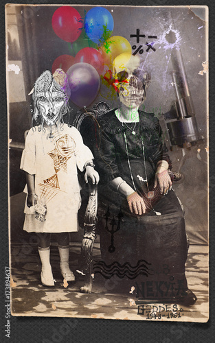 Foto op Aluminium Imagination Halloween collage. Manoscritti e disegni macabri,surrealisti e misteriosi