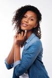 Beautiful curly woman sensually posing on white background - 173897407