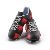 Outdoor soccer cleats shoes on white. 3D illustration - 173905044