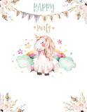 Isolated cute watercolor unicorn invitation card. Nursery unicorns illustration. Princess rainbow unicorns poster. Trendy pink cartoon horse. - 173912481
