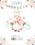 Isolated cute watercolor unicorn invitation card. Nursery unicorns illustration. Princess rainbow unicorns poster. Trendy pink cartoon horse. - 173912690