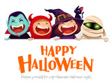 Happy Halloween Party. Group of kids in halloween costume with big signboard. White background. - 173912691