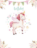 Isolated cute watercolor unicorn invitation card. Nursery unicorns illustration. Princess rainbow unicorns poster. Trendy pink cartoon horse. - 173912841