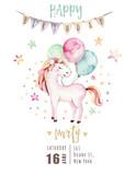 Isolated cute watercolor unicorn invitation card. Nursery unicorns illustration. Princess rainbow unicorns poster. Trendy pink cartoon horse. - 173913004