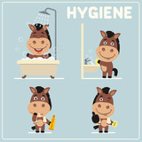 Collection isolated of horse in cartoon style for rules of child hygiene. Set of funny horse is hygiene: showering, washing hands, brushing her teeth.