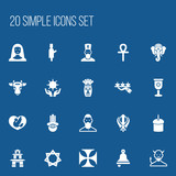 Set Of 20 Editable Dyne Icons. Includes Symbols Such As Muslim, Ringer, Hexagram And More. Can Be Used For Web, Mobile, UI And Infographic Design. - 173913819