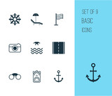 Tourism Icons Set. Collection Of Rucksack, Street, Ship Hook And Other Elements. Also Includes Symbols Such As Street, Rudder, Helm.