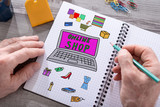Online shop concept on a notepad - 173915212
