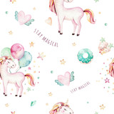 Isolated cute watercolor unicorn pattern. Nursery rainbow unicorns aquarelle. Princess unicornscollection. Trendy pink cartoon horse. - 173915480
