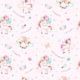 Isolated cute watercolor unicorn pattern. Nursery rainbow unicorns aquarelle. Princess unicornscollection. Trendy pink cartoon horse. - 173916678