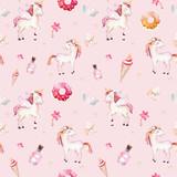 Isolated cute watercolor unicorn pattern. Nursery rainbow unicorns aquarelle. Princess unicornscollection. Trendy pink cartoon horse. - 173917039