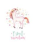Isolated cute watercolor unicorn kids poster. Nursery unicorns illustration. Princess unicorns drawing. Trendy pink cartoon magic horse. - 173917244