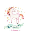 Isolated cute watercolor unicorn kids poster. Nursery unicorns illustration. Princess unicorns drawing. Trendy pink cartoon magic horse. - 173917625