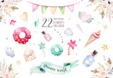 Isolated cute watercolor unicorn clipart. Nursery unicorns illustration. Princess rainbow unicorns poster. Trendy pink cartoon horse. - 173917894