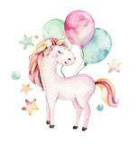 Isolated cute watercolor unicorn clipart. Nursery unicorns illustration. Princess rainbow unicorns poster. Trendy pink cartoon horse. - 173918205