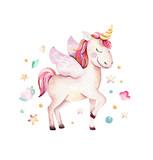 Isolated cute watercolor unicorn clipart. Nursery unicorns illustration. Princess rainbow unicorns poster. Trendy pink cartoon horse. - 173918652
