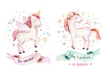 Isolated cute watercolor unicorn clipart. Nursery unicorns illustration. Princess rainbow unicorns poster. Trendy pink cartoon horse. - 173919090