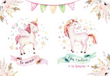 Isolated cute watercolor unicorn clipart. Nursery unicorns illustration. Princess rainbow unicorns poster. Trendy pink cartoon horse. - 173919253