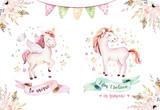 Isolated cute watercolor unicorn clipart. Nursery unicorns illustration. Princess rainbow unicorns poster. Trendy pink cartoon horse. - 173919253