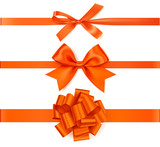 Set of beautiful autumn orange  bow with horizontal ribbon for page decoration or gift pack. - 173922621