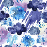 Watercolor seamless pattern of rainy clouds. - 173924802