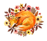 Watercolor sleeping fox among flowers isolated on white background. - 173924840