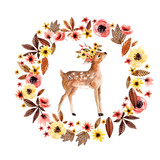 Watercolor deer fawn among flowers isolated on white background. - 173924885