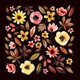 Watercolor floral elements square arranged on dark background. - 173925005