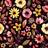 Cute watercolor floral background. - 173925041