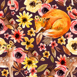 Cute watercolor animals on floral background. - 173925099