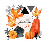 Hand drawn falling leaf, doodle, water color, scribble textures for fall design. - 173925835