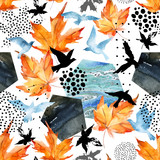 Autumn watercolor background: leaves, bird silhouettes, hexagons. - 173926017