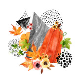 Hand drawn falling leaf, doodle, water color, scribble textures for fall design. - 173926052
