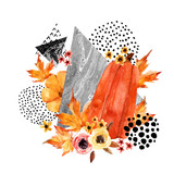 Hand drawn falling leaf, doodle, water color, scribble textures for fall design. - 173926075