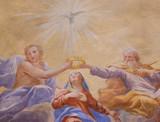 Fresco in San Gimignano - Holy Trinity and Mary - 173927600