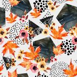 Autumn background: falling leaves, flowers, geometrical elements. - 173928040