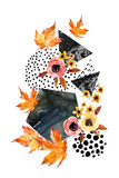 Hand drawn falling leaf, doodle, water color, scribble textures for fall design. - 173928094