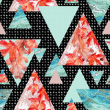 Abstract geometric background in retro vintage 80s 90s pop art. - 173928222
