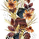 Autumn watercolor floral arrangement - 173928886