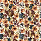 Autumn watercolor floral arrangement, seamless pattern. - 173929015