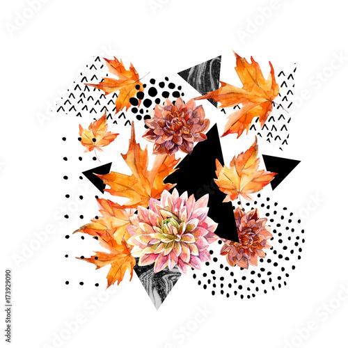 Autumn watercolor floral arrangement - 173929090