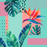 Abstract tropical summer design in minimal style. - 173929225