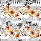 Autumn watercolor flowers on doodle background. - 173930616