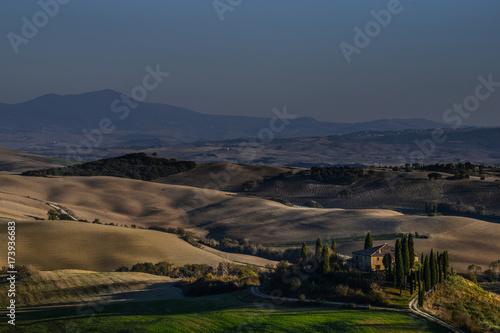 Spoed canvasdoek 2cm dik Toscane Toskana am Abend Belvedere