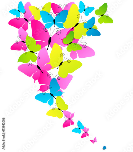 beautiful color butterflies,set, isolated  on a white - 173942002