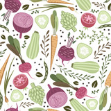 seamless pattern with healthy vegetables