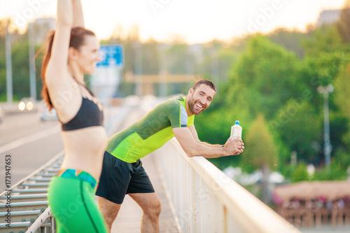 Fotobehang Fitness Happy Couple Exercising