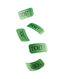 Green tickets against white background - 173947816