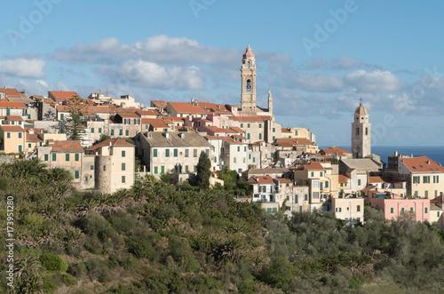 In de dag Liguria Cervo, Medieval village, Italy