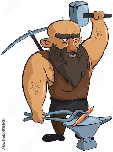 Vector strong blacksmith with hammer and pickaxe.